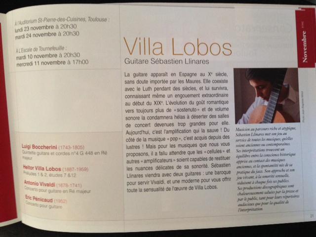 Les soirées des 10-11, 23-24 novembre, en soliste avec l'Orchestre de chambre de Toulouse
